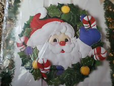Bucilla Christmas Felt Applique Holiday Kit,JOLLY SANTA WREATH,Wall,Door,83028