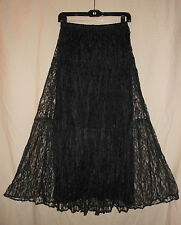VTG 90s USA S Black Sheer Lace Broomstick Tier Peasant Gypsy Skirt Grunge Goth