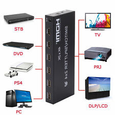 2x4 Full HD 4K 3D HDMI Switch Splitter Amplifier Spdif Audio + IR Remote 2x4