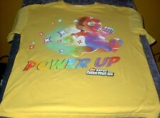 NINTENDO Adult M Power Up Super Mario Bros Wii T Shirt Yellow Free USA Shipping!