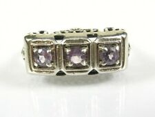 .50ctw Natural Round Cut Amethyst Victorian Deco Sterling Filigree Ring s7