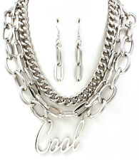 "Word ""Cool"" Pendant Silver Chain Multi Layer Statement Runway Fashion Jewelry"