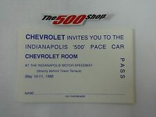 1986 Indianapolis 500 Chevrolet Corvette Pace Car Room Pass Driver Chuck Yeager