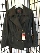 Yoki Large Black Double Breasted Button-Up Peacoat W/2 Front Zip Pockets NEW