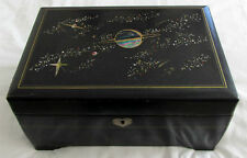 Vintage JAPAN Black LACQUER with Abalone INLAY Musical Jewelry BOX
