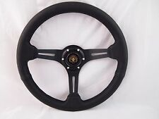UNIVERSAL STEERING WHEEL 350MM CLASSIC GENUINE LEATHER BLACK SPOKE