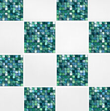 "4"" x 4"" Green Blue Mosaic Self Adhesive Tile Transfer Stickers Bathroom Kitchen"