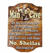 MAN CAVE RULES Wooden WALL SIGN 3D Raised Letters - Pool Room Bar Garage Den