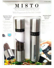 Misto Oil Sprayer with Salt and Peppercorn Grinder Silver 2Pk