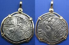 Odd Shaped Historical Replica of Old Colonial Recovered Treasure Coin 14k Bezel