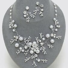 SILVER  / CLEAR CRYSTAL PEARL FLOWER BRIDAL STATEMENT NECKLACE & EARRING SETX 10
