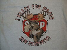 "Vintage New Hampshire ""I Brake for Moose"" Funny Wildlife T Shirt XL"