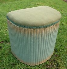 Vintage 1950's Lloyd Loom Lusty Linen Basket - Green Gold - Good Used Condition