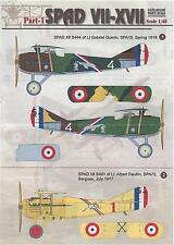 Print Scale Decals 1/48 SPAD VII to SPAD XVII French WWI Fighters