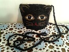 Beaded Purse, Cat Face with long beaded strap Black beads, gold & black eyes