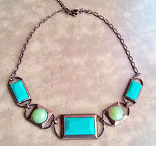 Necklace Turquoise Blue teal green copper bib statement rectangle chain