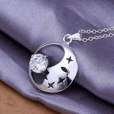 "925 Silver Moon and Crystal Star Necklace Pendant, 18"" long,  ladies Girls gift"