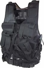 TACTICAL POLICE MILITARY SWAT ASSAULT UTILITY VEST & PISTOL GUN HOLSTER - BLACK