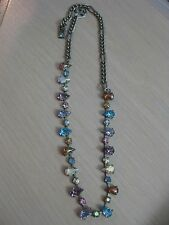 Estate Costume Amar Pear Shaped Rhinestone Link Necklace AB Colors 18""