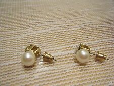 SIMULATED PEARL AND CRYSTAL POST PIERCED EARRING