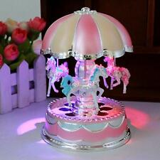 LED Light Merry-Go-Round Music Box Christmas Birthday Gift Toy Carousel Decor
