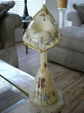 Victorian Antique Harrach Jack in the Pulpit Tall Bud Vase with Gilded Florals