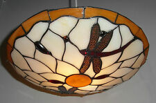 *SALE PRICE* TIFFANY Stained-glass DRAGONFLY Uplighter Shade - Amber PM5002