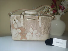 BRAHMIN Satchel J55 873 Mini Asher Creme Miramonte Raffia Floral Collection 2016