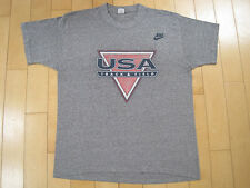 RAYON!! 80s vtg USA TRACK AND FIELD nike red tag T SHIRT OLYMPICS large