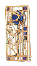 Rennie Mack Rose Brooch in GP & Sapphire by Miracle Jewellery MBG578S