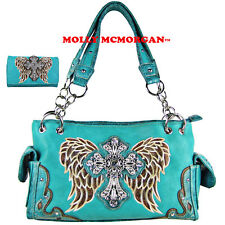 TURQUOISE RHINESTONE CROSS WINGS SHOULDER HANDBAG CONCEALED CARRY WITH WALLET