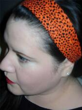 HANDMADE *ORANGE LEOPARD* Women Headband Hair Accessory Hair Band With Elastic