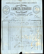 """LIMOGES (87) USINE de SACS & PAPIERS d'EMBALLAGE """"CAUMASSY & DENARDOU"""" en 1877"""