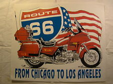 "Route 66 Red Gold Wing 14"" X 12"" T Shirt Iron On Heat Thermal Transfer"