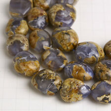 "Natural Blue Chalcedony Gemstone Flat Nugget Beads  15"" Strand 1Lot #C0000311"