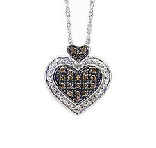 Cute! .925 Silver & Chocolate Brown Diamond Heart Shape Pendant & Chain .15ct