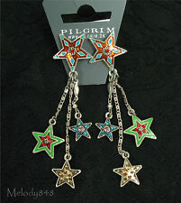 PILGRIM Earrings STAR Charm Silver Multi Colour Swarovski Enamel BNWT Last Pairs
