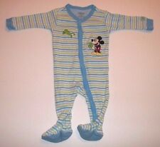 Disney Pajamas 0-3 Months Baby Boy Mickey Mouse Footed Long Sleeve Blue Striped
