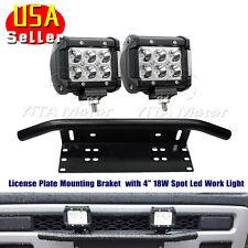 18W Spot LED Work Light Bar+Bull Bar Front Bumper License Plate Mounting Bracket