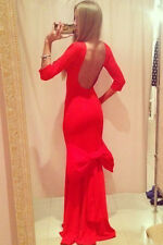 Red Backless Big Bow Party Cocktail Prom Evening Dress size UK 10-12