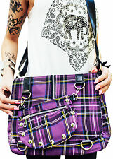 Banned Apparel Purple Tartan Plaid Print Punk Messenger Cross Body Handbag Purse