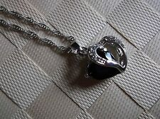 BRAND NEW SILVERTONE HEART SHAPE COLOURED GEM AND OPEN HEART PENDANT