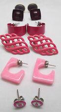 Vintage Pierced Earrings Lot of 6 Pairs Hot Pink & Purple Hoop Metal Plastic