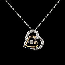 "14K White Gold Over Real Diamonds In Motion Heart Pendant Necklace 18"" Chain"