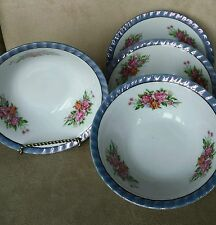 "VINTAGE YAMATSU SET (4) 7"" FLUTED SERVING BOWL- VIOLET LUSTERWARE RIM PINK ROSES"