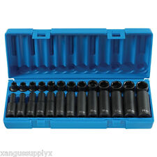 "GP 1226M  3/8"" Drive 6 Point Standard and Deep Metric Impact Socket Set  Black"