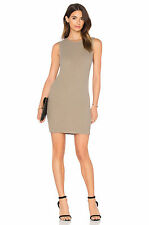 $325 James Perse Khaki Ribbed Knit Shell Sleeveless Stretch Dress.SZ:4