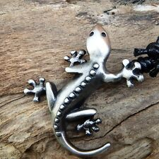 Gecko Lizard Salamander Wicca  Pagan Pewter Pendant With Cotton Necklace #302