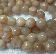 """Peach Moonstone 6mm Faceted Round Beads 15"""" Natural Color"""