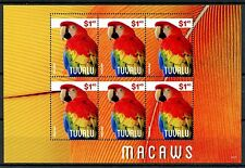Tuvalu 2014 MNH Macaws 6v M/S Birds Fauna Parrots Stamps